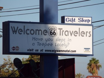 Welcome Route 66 road trippers at the wigwam motel california
