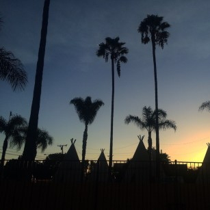 Sunset over the Wigwam motel