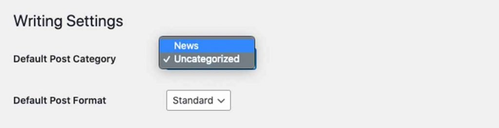 Change Default Category WordPress