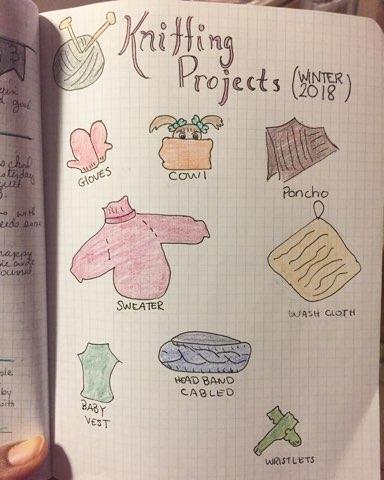 bullet journal knitting project list for winter