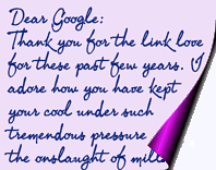 Graphic of a Dear Google letter copyright Lorelle VanFossen