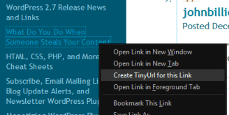 TinyURL in right click menu to create a shortened link for a link in a post