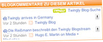 Twingly widget on Handelsblatt.com