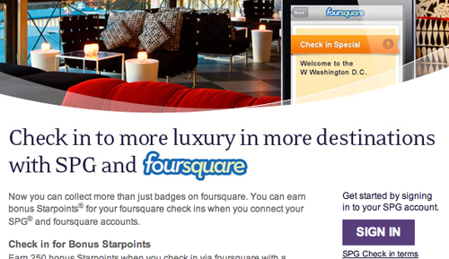 Foursquare Starwood Resorts Checkin