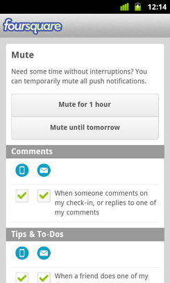 Foursquare Time Setting Notifications Screen