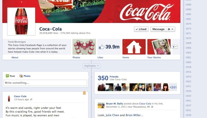 Coca Cola Brand Page for Premium Ad