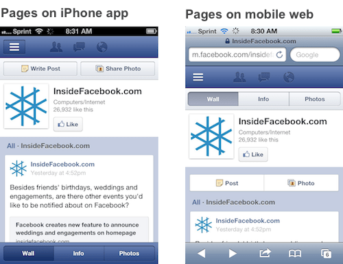 Facebook For Mobile Pages