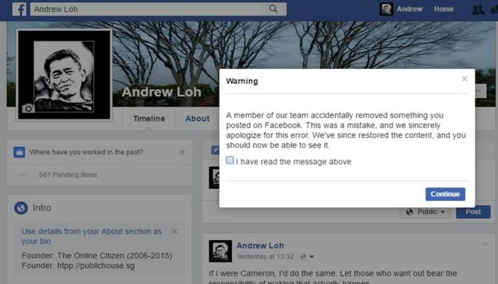 """Facebook Apologizes After Deleting Blogger's Post """"By Accident"""""""