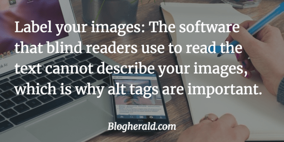 use alt tags to describe images for accessibility