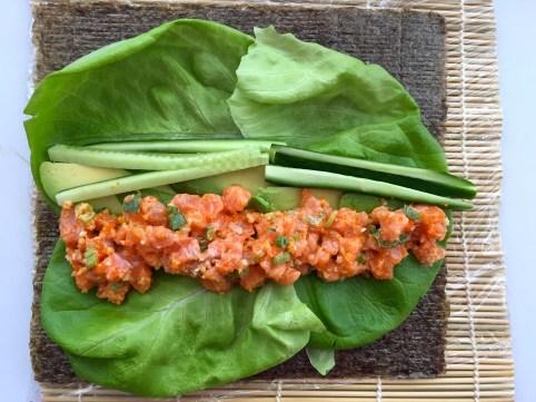 Rice less salmon maki rolls