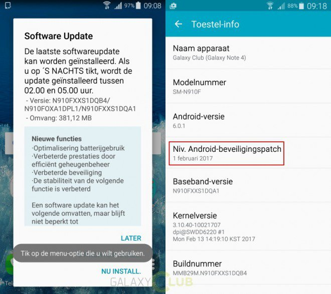 Aggiornamento Galaxy Note 4