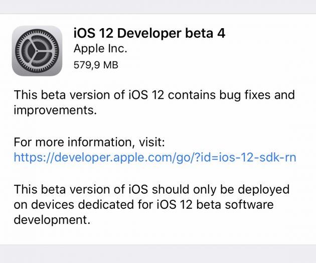 Apple iOS 12 beta 4
