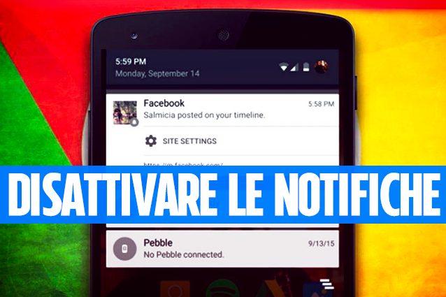 Come bloccare le notifiche dei siti web su Google Chrome da Android