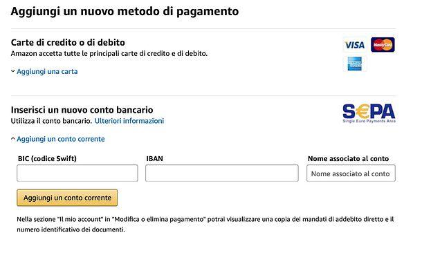 ordini Amazon conto bancario