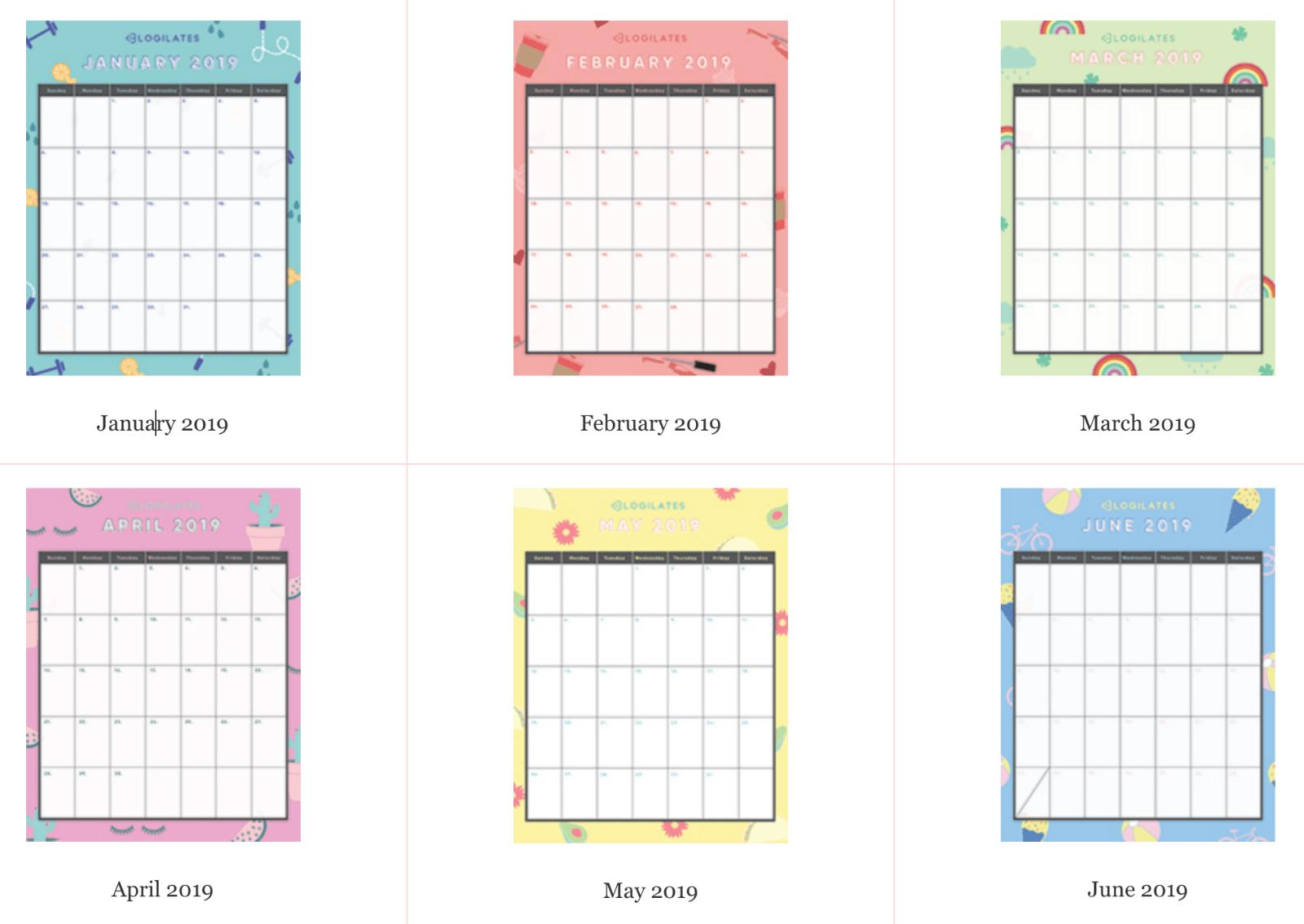 The Legit Cutest Printable Calendars Blogilates
