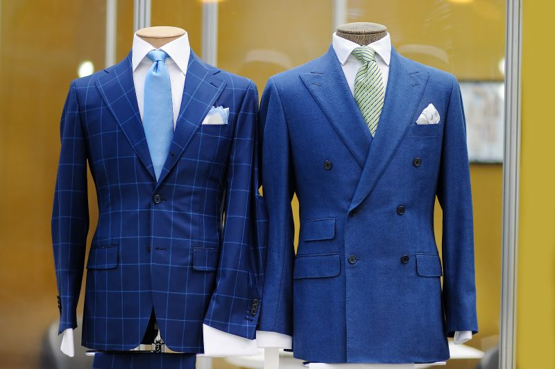 blue suits on male mannequins