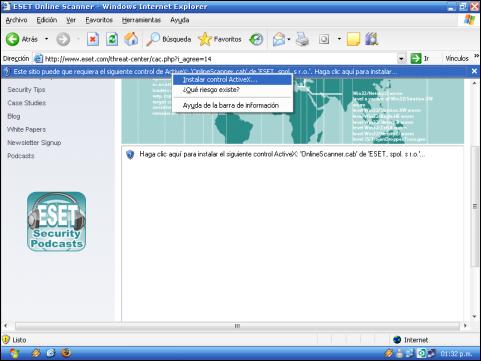 ESET Online Scanner NOD32, instalar ActiveX