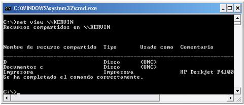 Comando net view