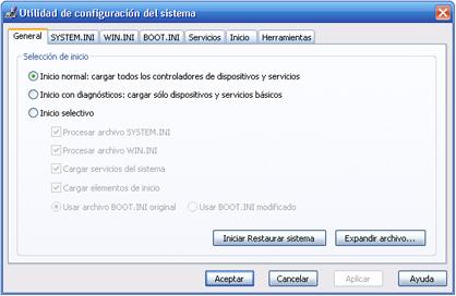 MSConfig - Utilidad de configuración del sistema