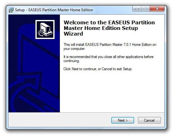 Instalación de EASEUS Partition Master 1