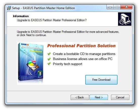 Instalación de EASEUS Partition Master 3