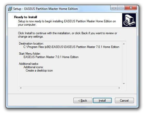 Instalación de EASEUS Partition Master 8