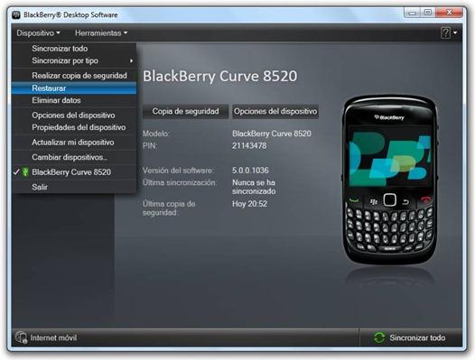 Restaurar archivo IPD al BlackBerry