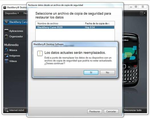 Restaurar backup de BlackBerry