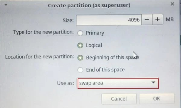 creating swap partition