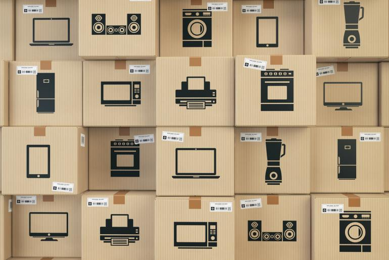 Household kitchen appliances and home electronics in boxes . E-c