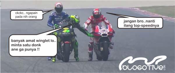 Meme MotoGP, Pol Espargaro memegang winglet Dovizioso.