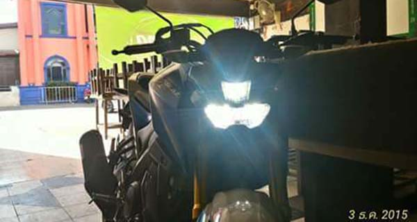 Tampilan Nyala Lampu LED Yamaha M-Slaz jarak jauh on