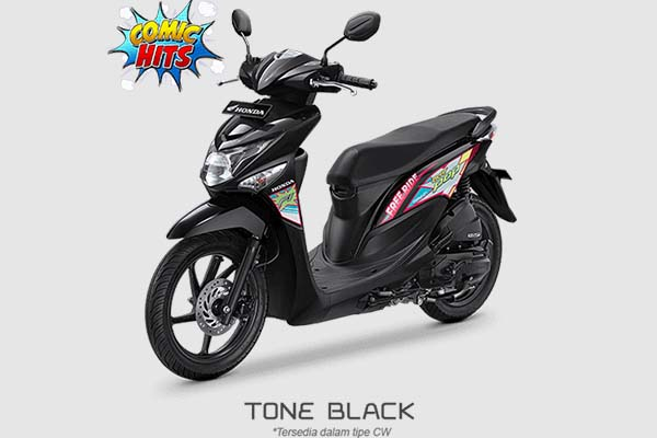 Pilihan Warna Honda BeAT POP Comic Hits warna Hitam