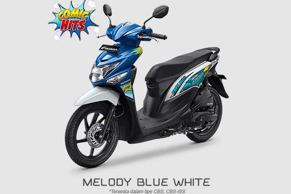 Pilihan Warna Honda BeAT POP Comic Hits warna Biru Putih