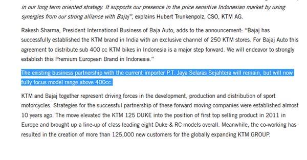Kerjasama KTM Indonesia