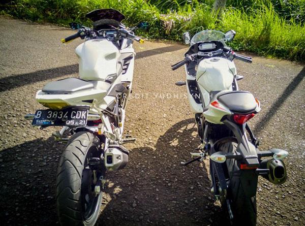 Suzuki GSX-R150 dan Honda CBR150R tampang dari belakang