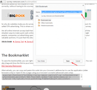 XJZ Survey Remover Bookmark page