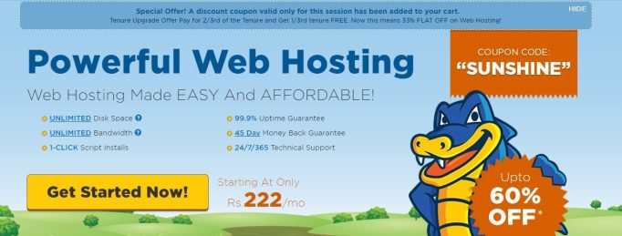 Verified Hostgator India Discount Coupon