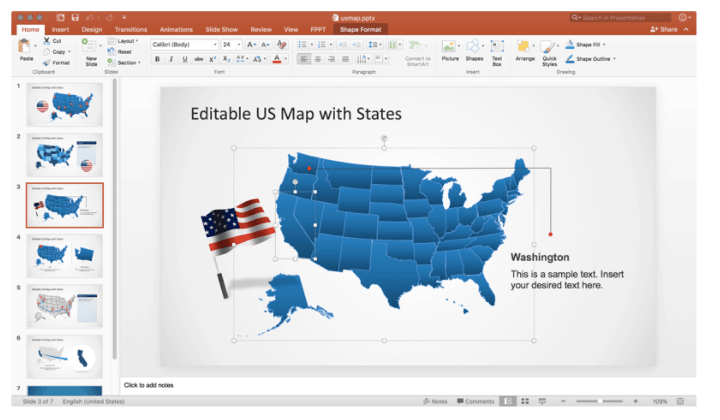 SlideModel US Map Template