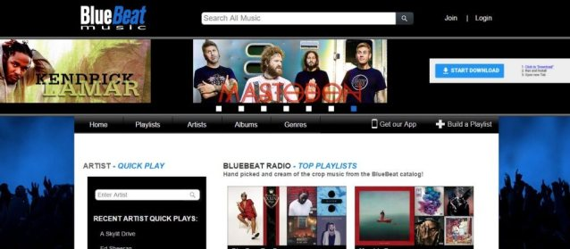 BlueBeat music streaming website