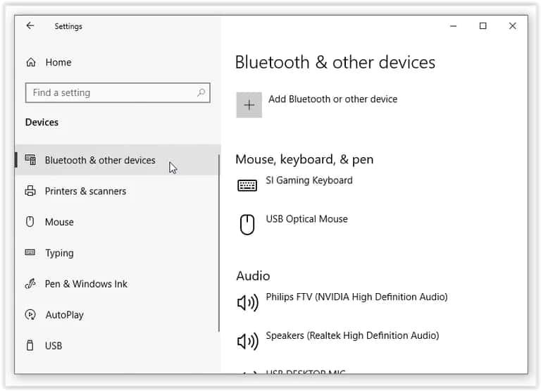 Settings Bluetooth