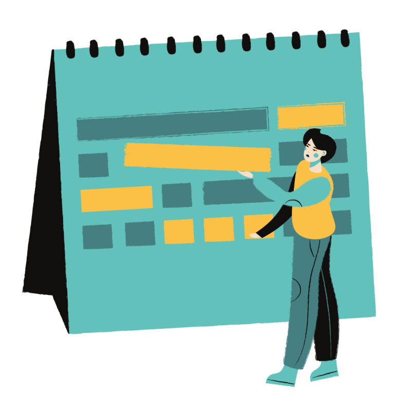 Studying online - illustration of someone rearranging their schedule
