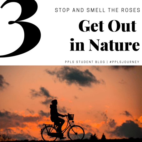 Get out in nature, person on a bike riding around during a sunset
