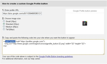 Generating Google + Profile button