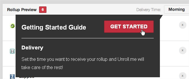 Unroll.me Rollup Delivery setting