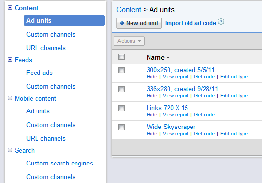 Channels category Google AdSense