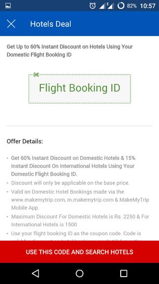 Make my trip mobile app booking