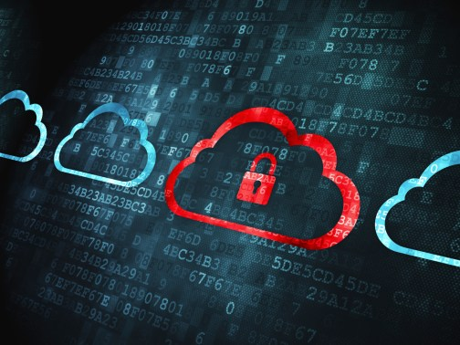 Computing concept: Cloud With Padlock on digital background