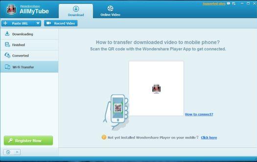 Wondershare AllMyTube Wi-Fi Transfer