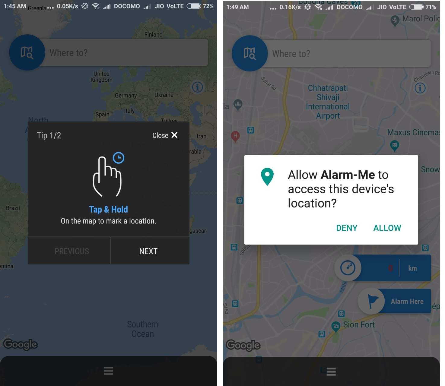 How to Setup Location Based Alarm when you're Near Reach Destination